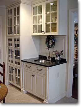 Butler S Liquor Cabinet Of Painted And Glazed Solid Hard White Maple With Pull Out Wine Racks Granite Countertop Stainless Steel Sink